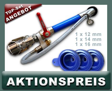 Set Feinputzspritzgerät NW 25, kurz, Absperrhahn, Drehkupplung + Feinputzdüsen 12,14,16 mm