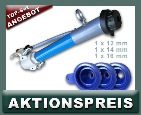Set Feinputzspritzgerät NW25, kurz + Feinputzdüsen 12,14,16 mm